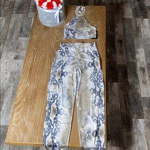 Snake print pants and top